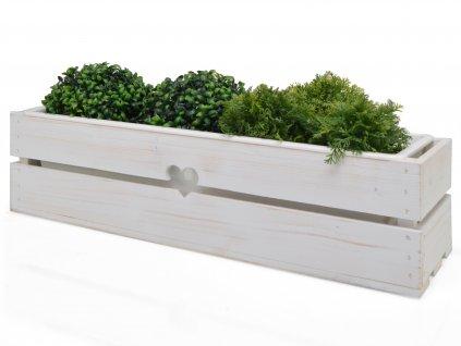 Dřevěný truhlík na květiny bílý s plastovým vkladem - 63 cm II.