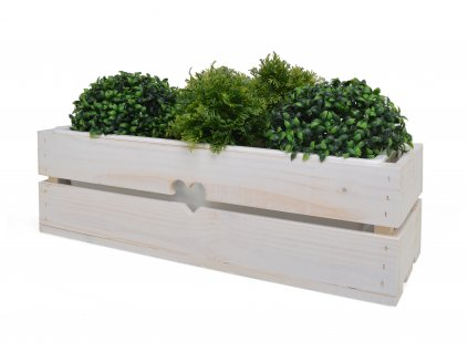Dřevěný truhlík na květiny bílý s plastovým vkladem - 53 cm II.