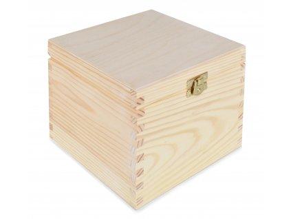 Dřevěná krabička s víkem a zapínáním - 16 x 16 x 13 cm, přírodní