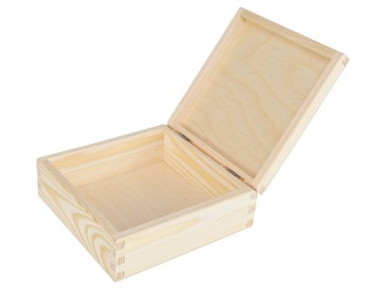 Dřevěná krabička s víkem 16 x 16 x 6 cm, přírodní