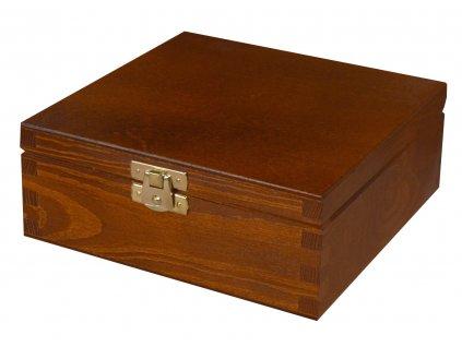Dřevěná krabička s víkem a zapínáním 16 x 16 x 6 cm, nátěr ořech