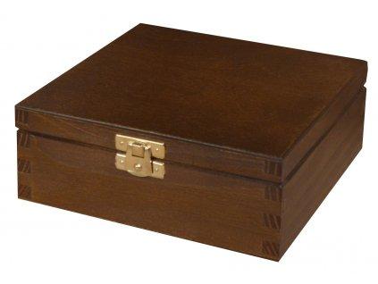 Dřevěná krabička s víkem a zapínáním 16 x 16 x 6 cm, tmavě hnědý nátěr