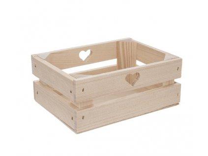 Dřevěná bedýnka se srdíčkem 20 x 14,5 x 8 cm