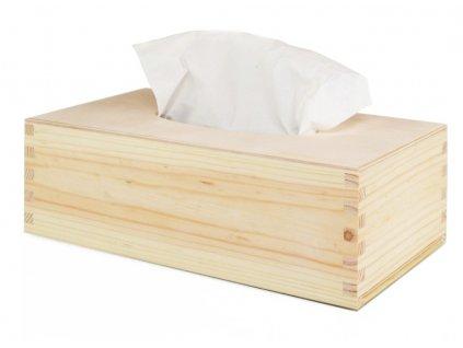 Dřevěná krabička na papírové kapesníky s výsuvným dnem, lakovaná, přírodní dřevo