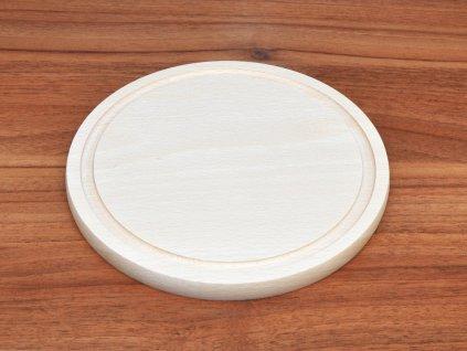 Bukové prkénko kulaté se žlábkem - průměr: 22 cm