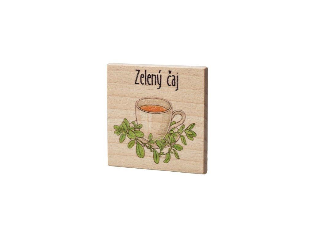 Dřevěný podtácek - Zelený čaj