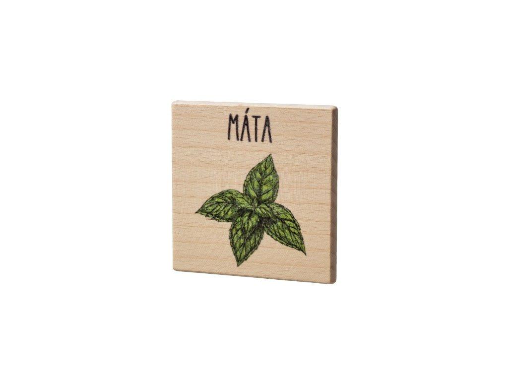 Dřevěný podtácek - Máta