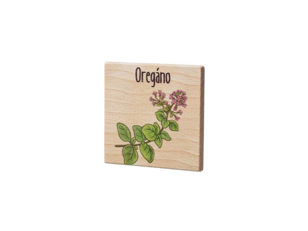 Dřevěný podtácek - Oregáno