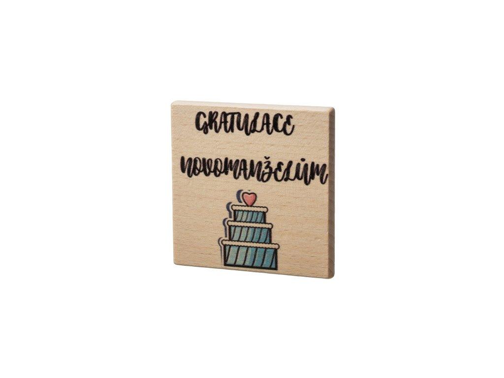 Dřevěný podtácek - Gratulace novomanželům
