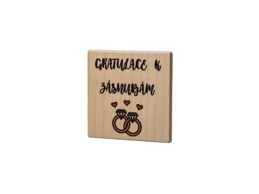 Dřevěný podtácek - Gratulace k zásnubám