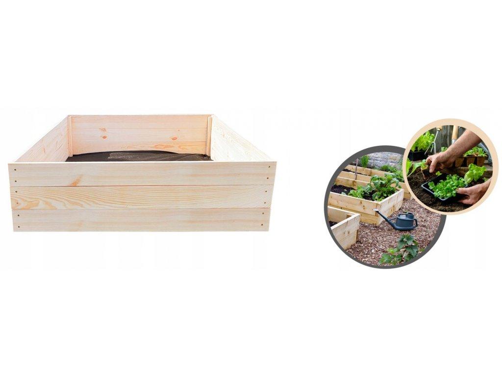 Dřevěný vyvýšený záhon 120 x 120 x 27 cm