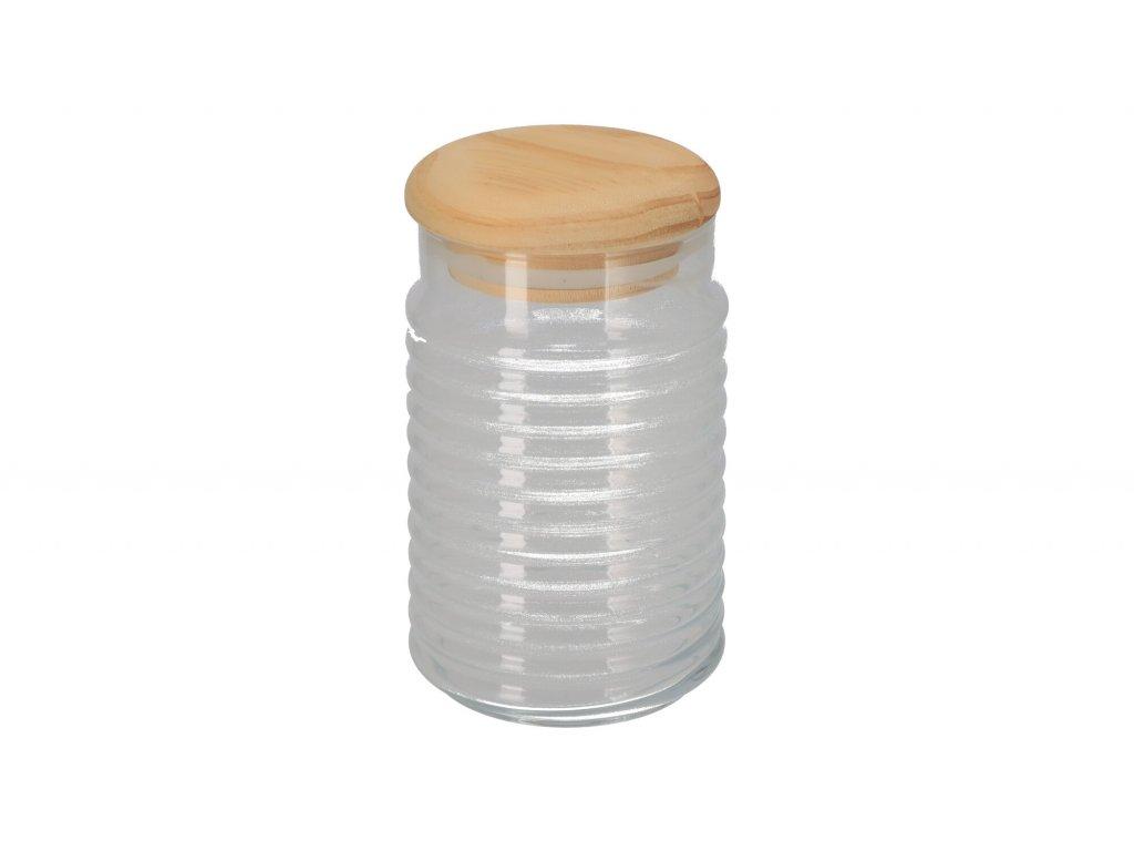 Skleněná dóza s dřevěným víčkem - 1,1 l