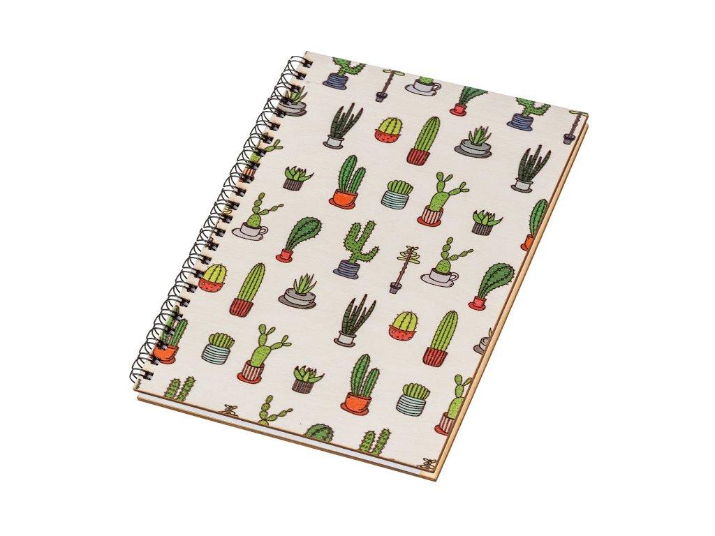 Dřevěný blok A5 - kaktusy