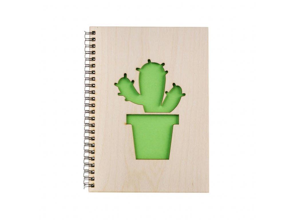 Dřevěný blok A5 - kaktus II