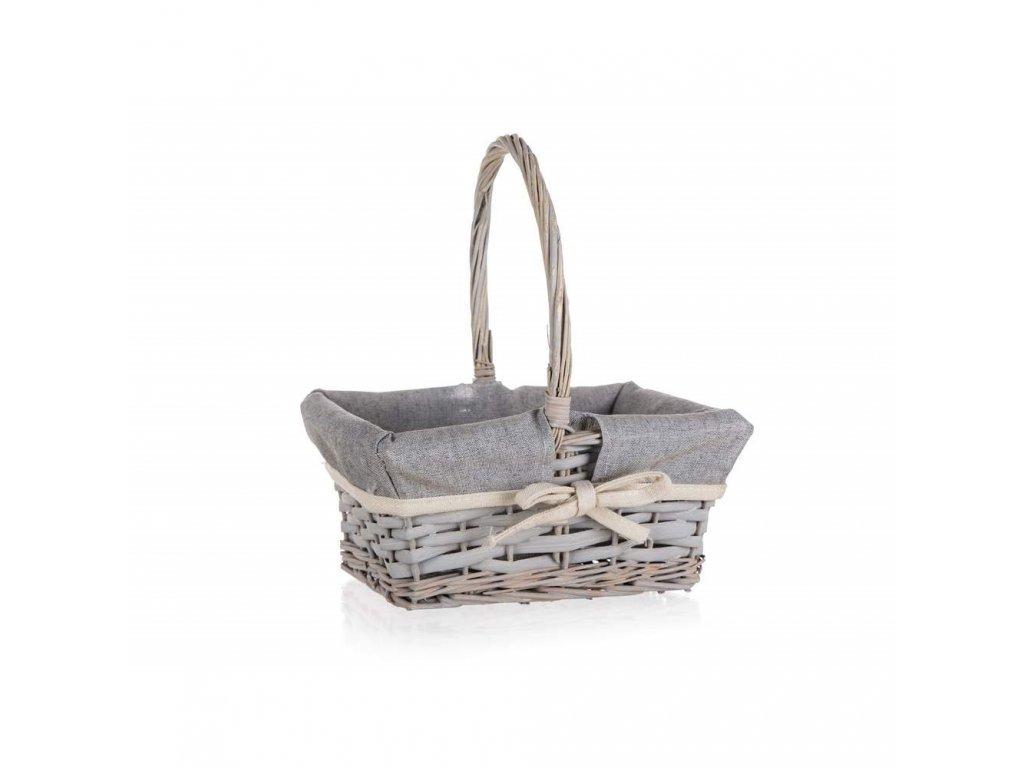Košík HOME s držadlem šedý - 22,5 x 18,5 cm