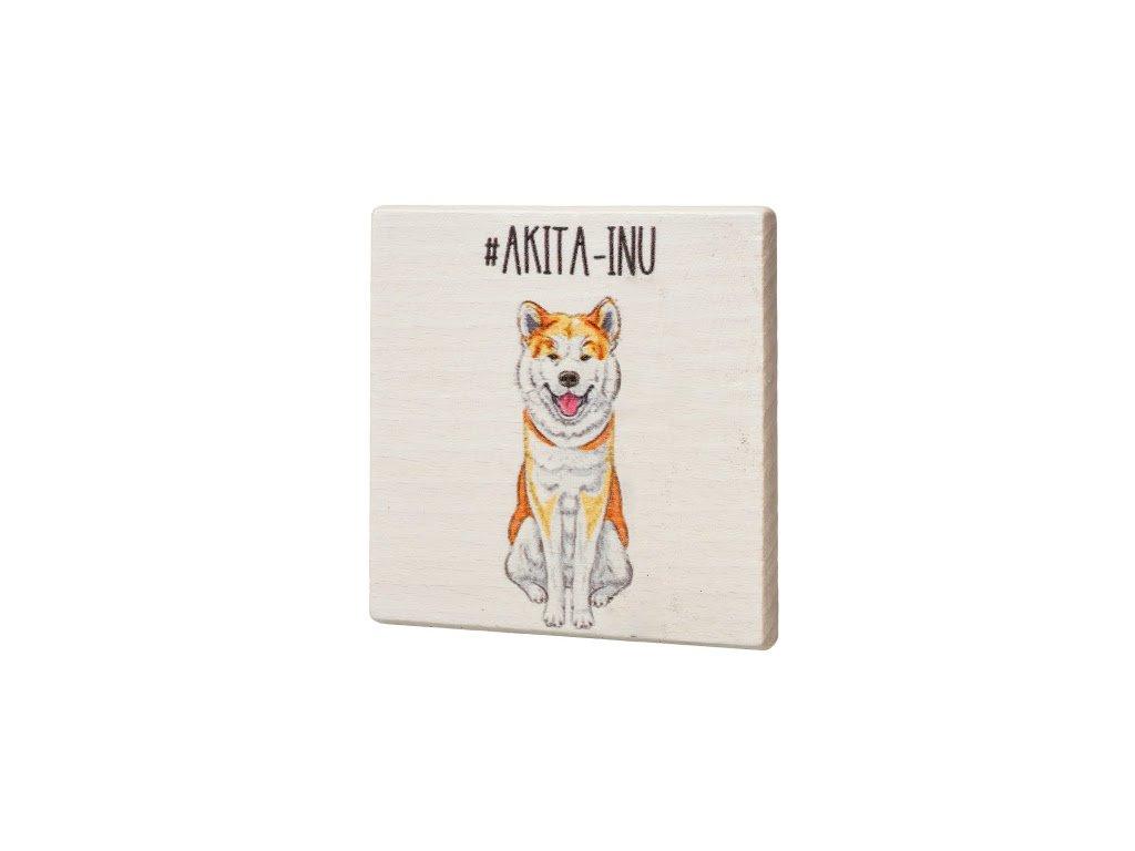 Dřevěný podtácek - Akita-Inu