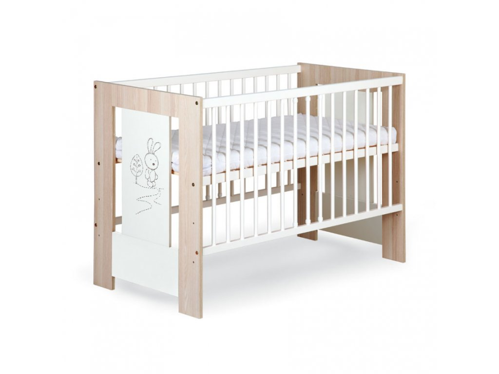 Dřevěná dětská postýlka zajíček