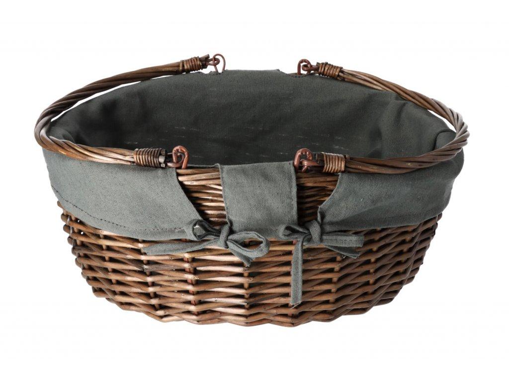 Proutěný nákupní košík kulatý - 42 x 35 x 19 cm