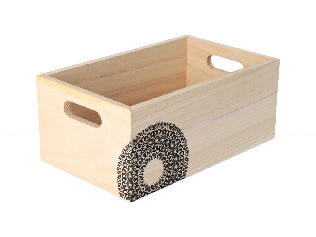 Dřevěná bedýnka s mandalou 26 x 16 x 11 cm