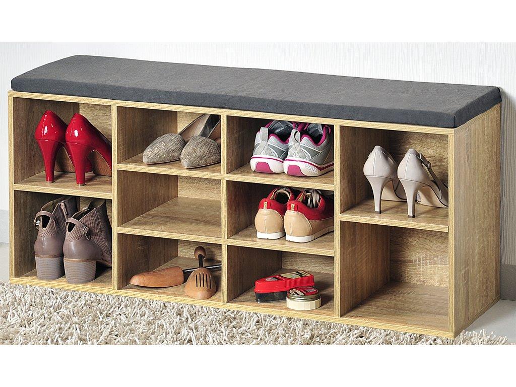 Hnědý botník s lavicí - 103,5 x 29,5 cm