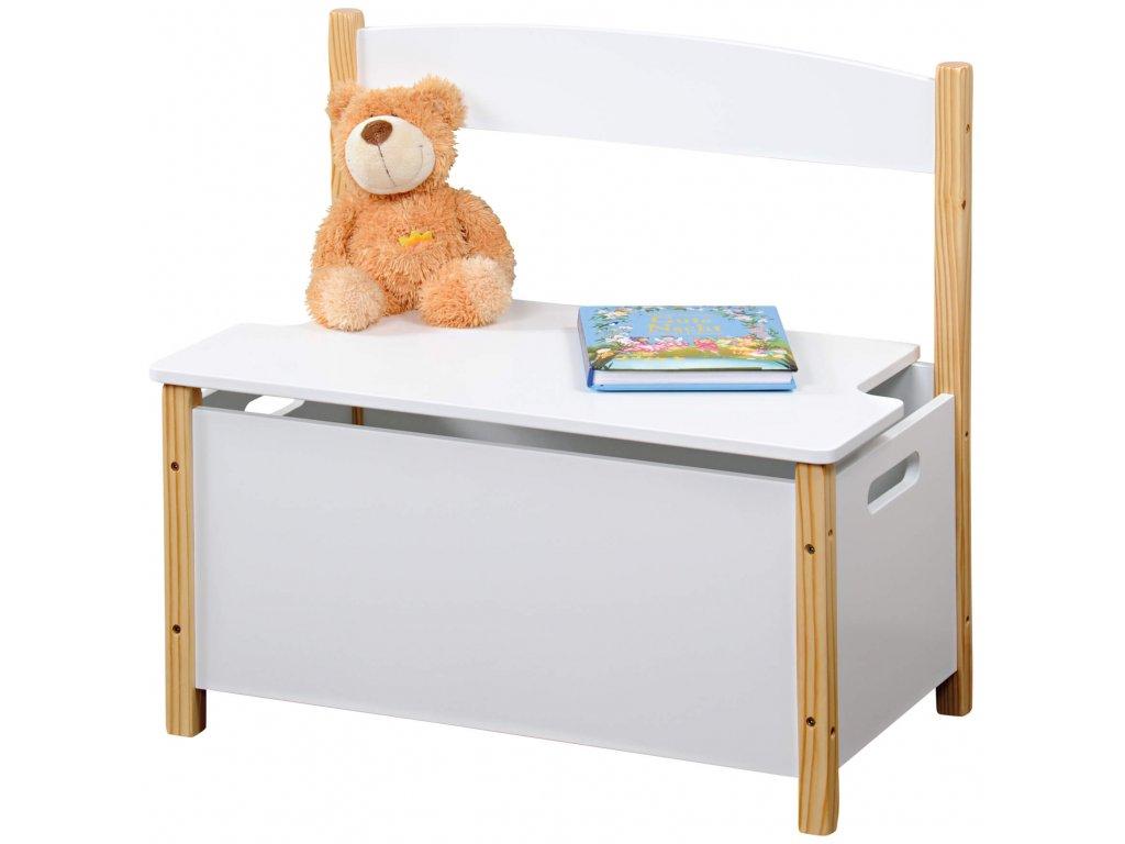 Dětská lavice s úložným prostorem - bílá