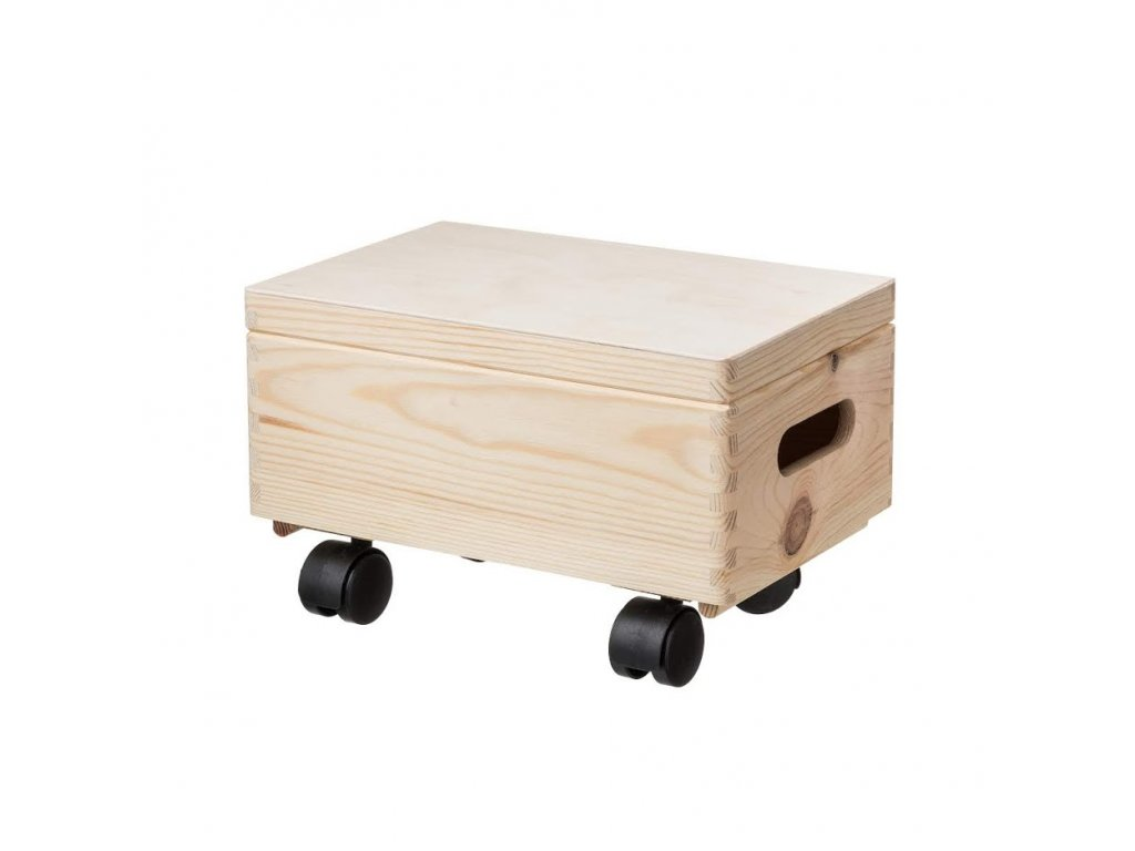 Dřevěný box s víkem 30X20X14 CM na kolečkách