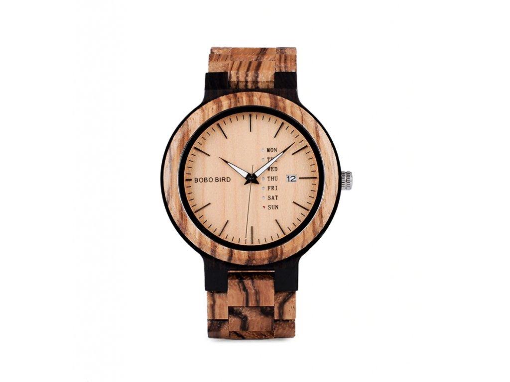 Dřevěné hodinky Bobo Bird s datumovkou - světlé