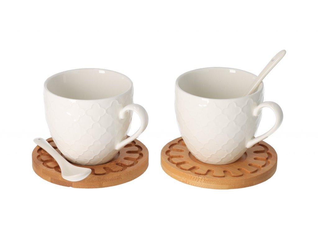 Dřevěný podtácek s porcelánovým hrníčkem 0,25 l a lžičkou 2 ks
