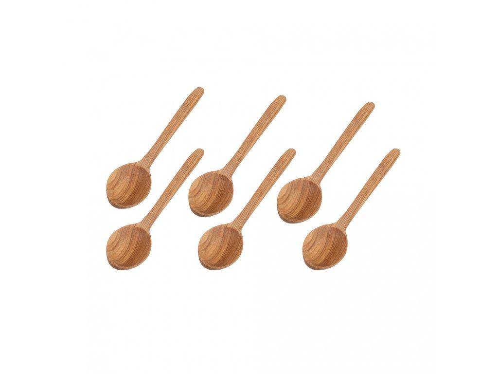 Dřevěná lžíce 17 cm - 6 ks v balení