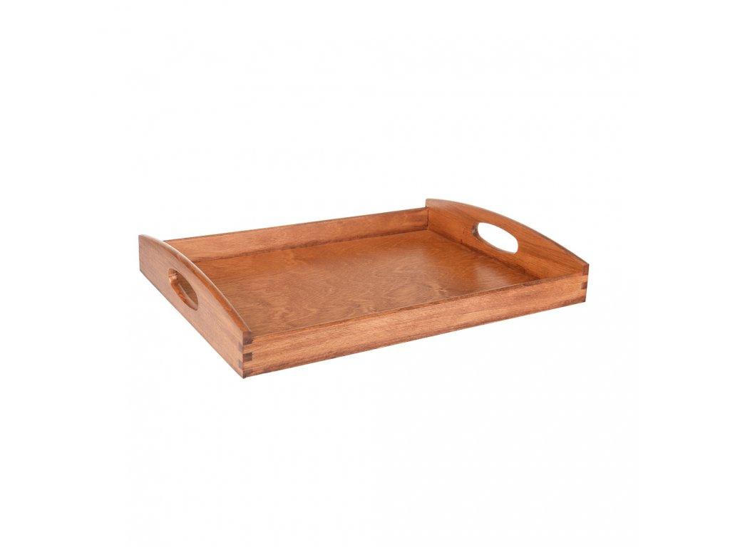 Dřevěný servírovací tác 40x30cm tmavý malý
