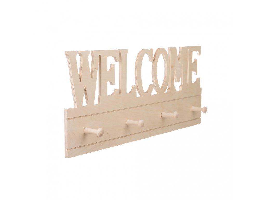 Dřevěný nástěnný věšák - welcome