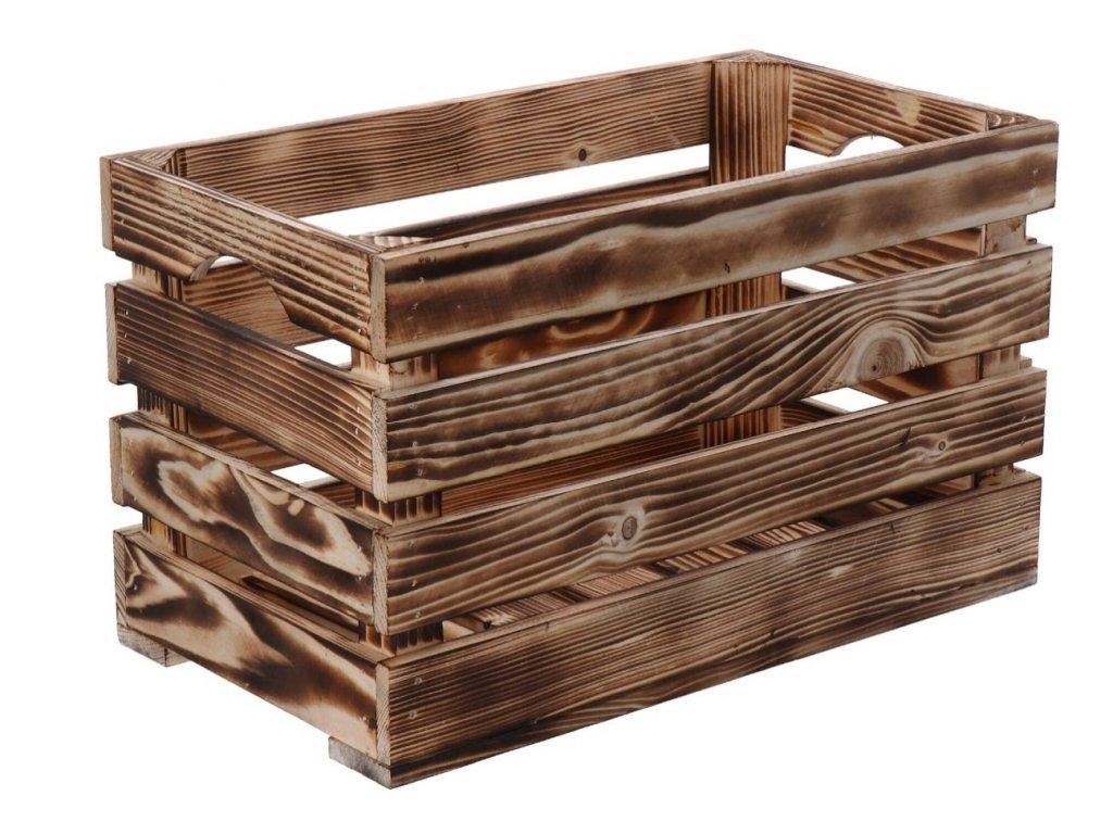 Opálená drevená bedýnka 40 x 22 x 24 cm