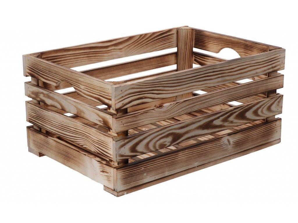 Opálená dřevěná bedýnka 46 x 32 x 22 cm