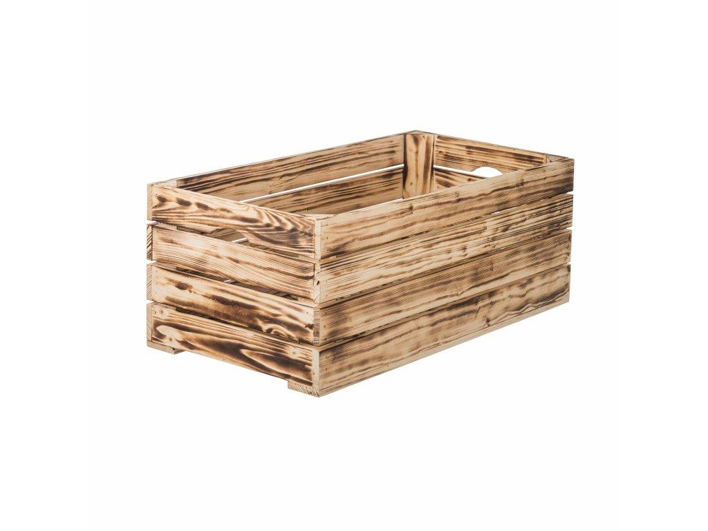 Opálená dřevěná bedýnka 60 x 30 x 24 cm