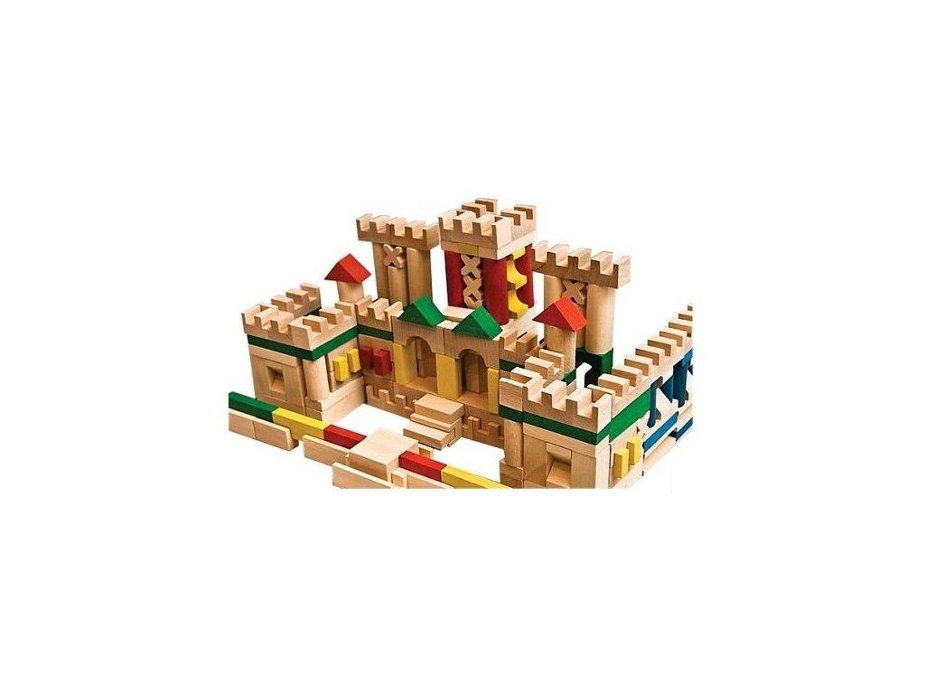 Dřevěné kostky barevné - 210 ks