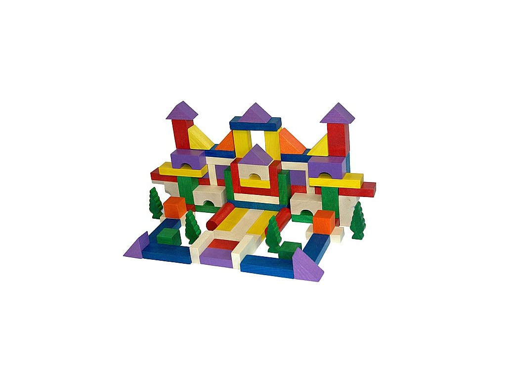 Dřevěné kostky barevné - 100 ks