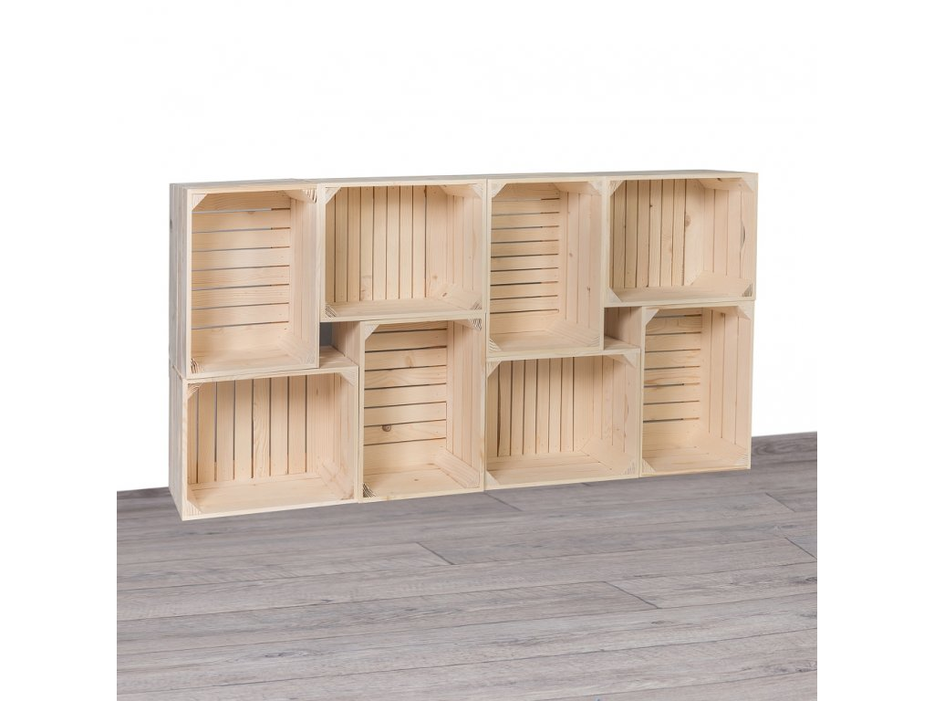 Dřevěné bedýnky knihovna I 70x140x24 cm