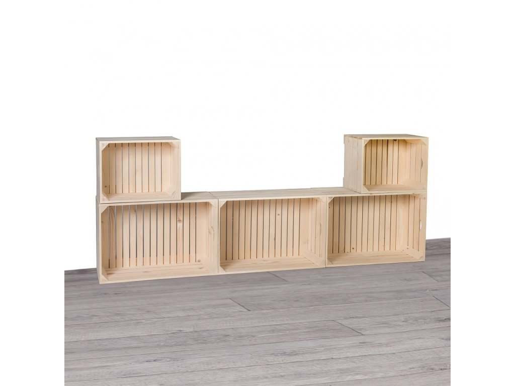 Dřevěné bedýnky obývací stěna 180x69x24 cm