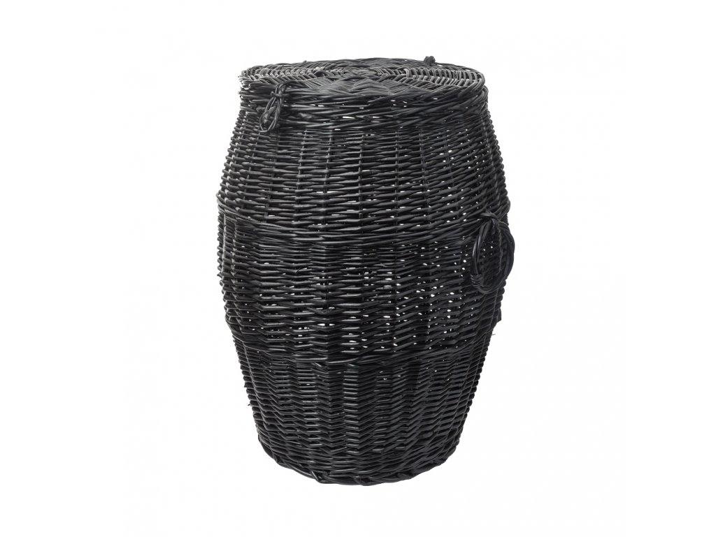 Proutěný koš na prádlo tmavý sud