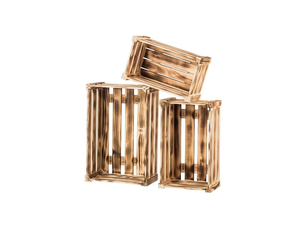Opálené dřevěné bedýnky borovice - komplet 3 ks