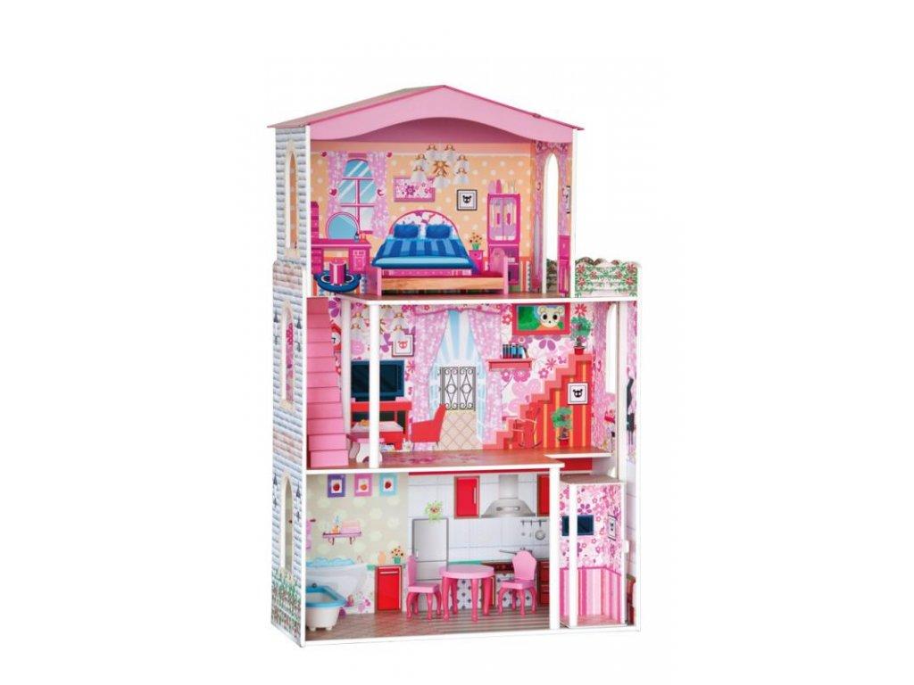 Dřevěný domeček pro panenky - 7 ks nábytku