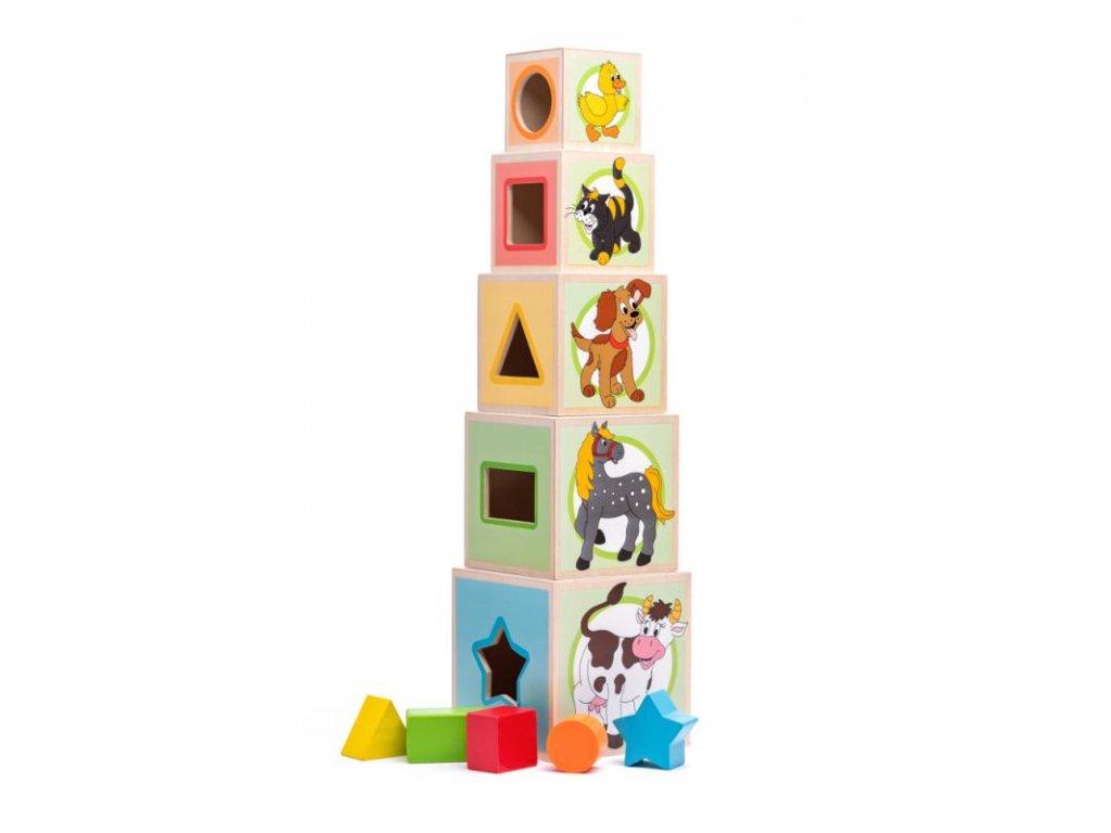 Věž z 5 kostek - zvířátka
