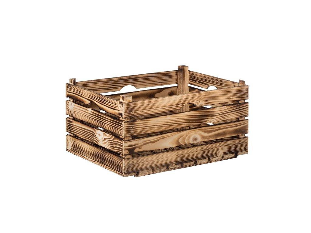 Opálená dřevěná bedýnka 52 x 36 x 26 cm