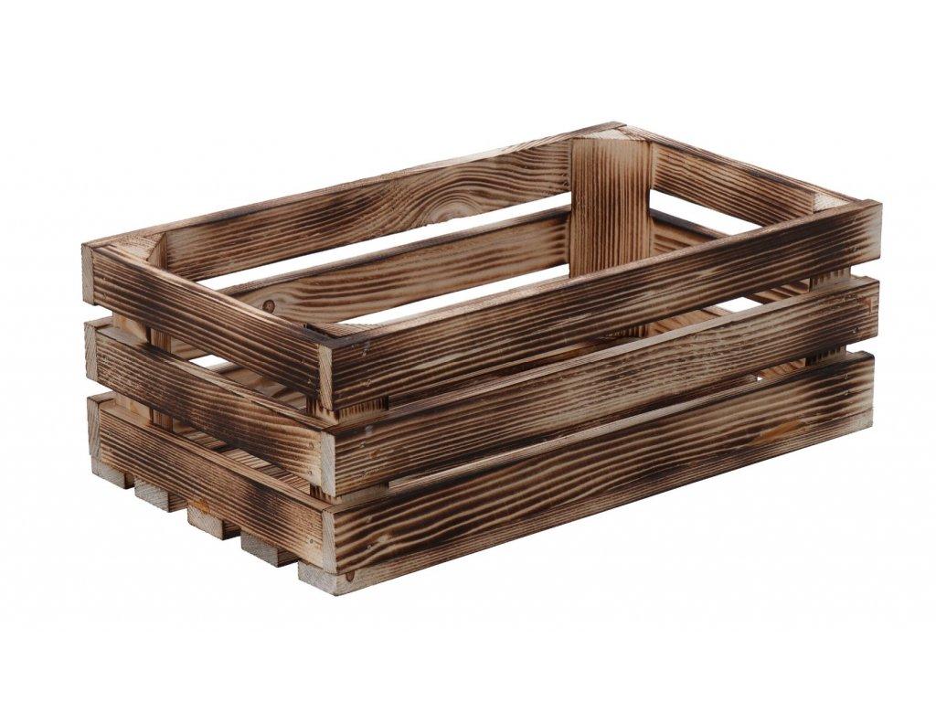 Opálená dřevěná bedýnka 34 x 20 x 12 cm II