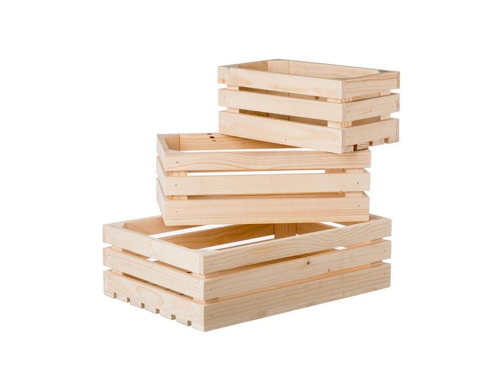 Dřevěné bedýnky smrk II - komplet 3 ks