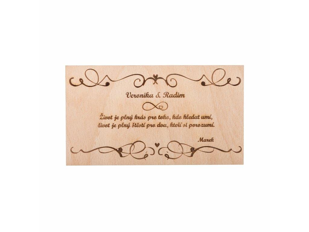 Dřevěné svatební přání