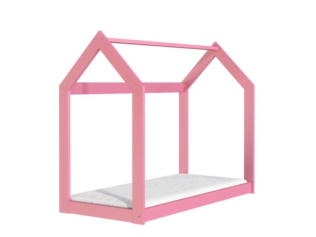 Dřevěná postel domeček 160 x 80 cm růžová + rošt
