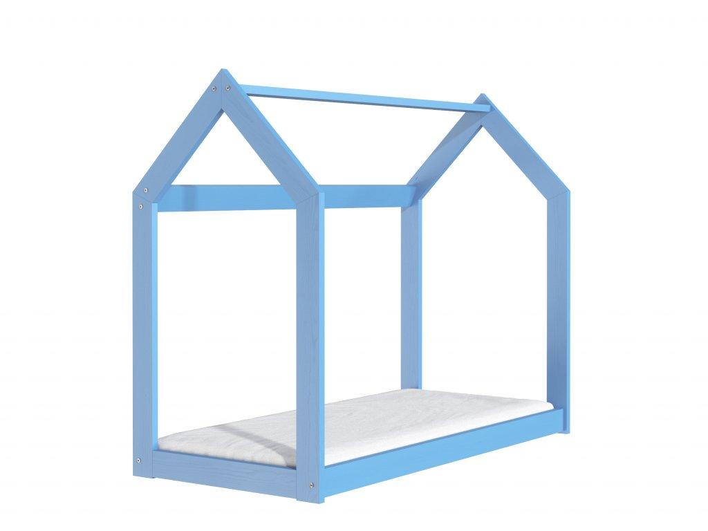 Dřevěná postel domeček 160 x 80 cm modrá + rošt