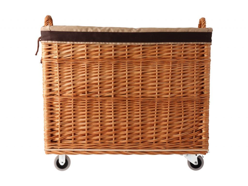 Proutěný košík na kolo hnědý s látkou