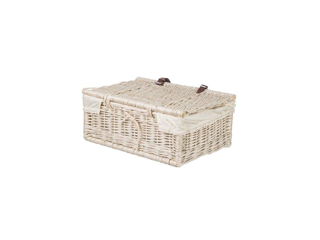 Proutěná zásuvka bíla s víkem - řemínky
